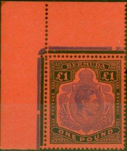 Bermuda 1951 £1 Violet & Black-Scarlet SG121d P.13 Fine MNH Corner Marginal
