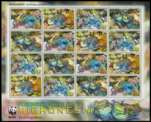 Micronesia WWF Mandarinfish Sheetlet of 4 sets MI#2052-2055 SC#848a-d
