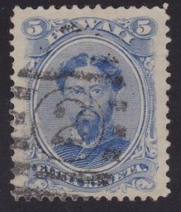 HAWAII 1864-86 5c Sc32 used - 2 in bars cancel..............................2199