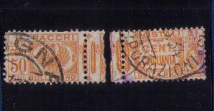 ITALY Scott #Q28 Back of Book used Complete Pair Seperated Center F-VF