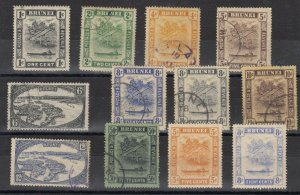 Brunei KGV 1924/37 Collection To 50c SG60 Onward FU/MH J7072