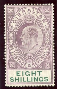 Gibraltar 1911 KEVII 8s purple & green MLH. SG 74. Sc 63.