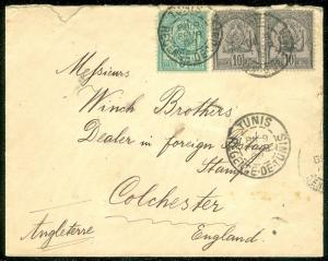 TUNISIA : 1898 cover to England.
