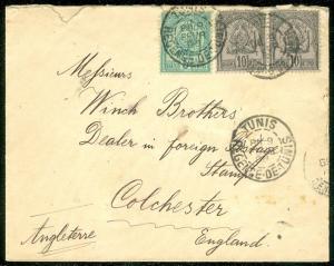 TUNISIA : 1898 cover to England.
