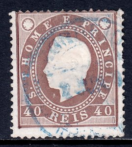 St. Thomas and Prince Islands - Scott #19 - Used - See description - SCV $2.25