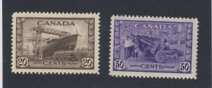 2x Canada MH VF stamps #260-20c Ship MH VF #261-50c Munitions Guide Value=$55.00