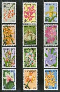 Bhutan 1990 Orchids Flower Plant Flora Sc 870-81 MNH # 1984