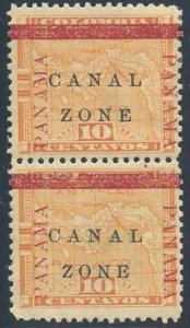 US Canal Zone Scott #13/13b Mint, Hinged Pair