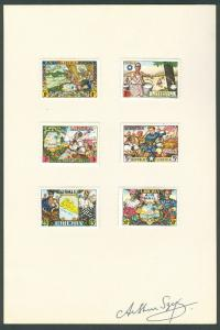 LIBERIA #309-12 C63-4 Complete set on card signed by Arthur Szyk