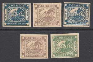 ARGENTINA  An old forgery of a classic stamp - 5 various....................D617