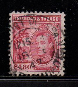 Trinidad & Tobago Sc 61 1940 $4.80 G VI stamp used