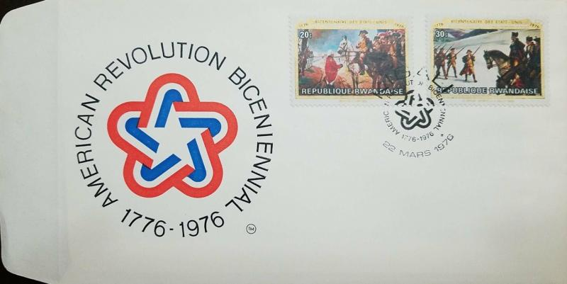 L) 1976 RWANDA, BICENTENARY OF THE UNITED STATES, HORSE, BATLE, AMERICAN REVOLUT