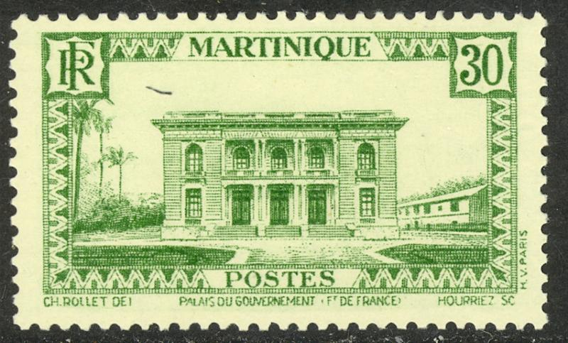 MARTINIQUE 1933-40 30c Government Palace Pictorial Sc 142 MNH