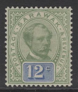 SARAWAK SG16 1888 12c GREEN & BLUE MTD MINT