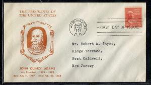 US #811-11 Adams Hux Cut cachet addressed