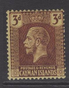 CAYMAN ISLANDS SG60b 1921 3d PURPLE/PALE YELLOW MTD MINT
