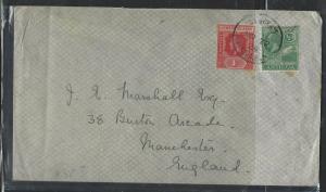 LEEWARD ISLANDS  (P1104B) 1924  KGV 1D+ ANTIGUA 1/2D ANTIGUA TO ENGLAND
