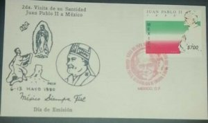 A) 1990, MEXICO, POPE JUAN PABLO II VISIT, FDC, CANCELARION RED
