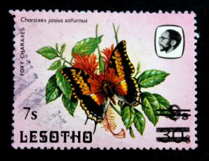 Stamp Lesotho Sc# 617B Used 7s on 9s on 30s 1988.