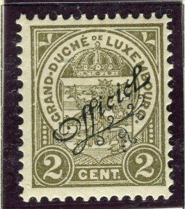 LUXEMBOURG; 1908 early Duke William OFFICIAL Optd issue Mint hinged 2c.