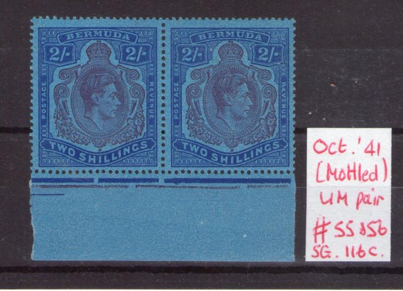 BERMUDA GEORGE VI SG116c V/ Mottled paper pair MNH condition.