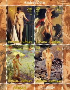 Somalia 2004 Anders ZORN Sweden Painter NUDES Sheet (4) Perforated Mint (NH)