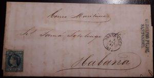 O) 1861 SPAIN, MARITIME MAIL - CORREO MARITIMO, GERONIMO PUJOL SANTANDER,