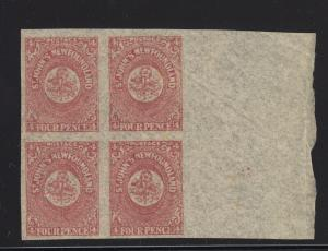 Newfoundland Scott # 18 block of 4 XF-OG mint never hinged nice ! see pic !