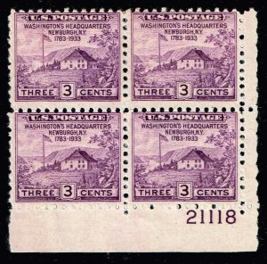 US STAMP #727 – 1933 3c Peace of 1783 Sesquicentennial MNH PL# BLK OF 4