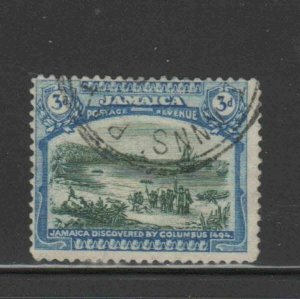 JAMAICA #93 1922 3p COLUMBUS LANDING AT JAMAICA MINT VF NH O.G