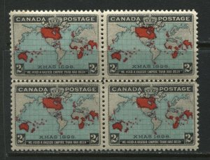 1898 Canada QV 2 cent Map stamp unmounted mint NH block of 4