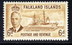 Falkland Islands 1952 KGV1 6d Bistre Brown MM SG 178 ( M1442 )