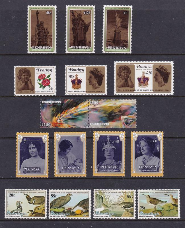 Penryrhyn (Cook Is) x 4 sets & a pair MNH from about 1980's