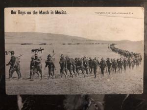 1916 Laredo TX USA RPPC Postcard Cover Mexico Revolution Soldiers marching