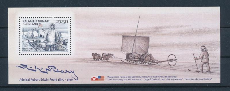 [29478] Greenland 2005 Animals Northpole Expidition Robert Peary Dogs MNH Sheet