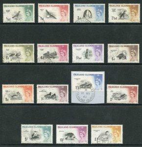 Falkland Is SG193/207 1960 Birds Set of 15 Used