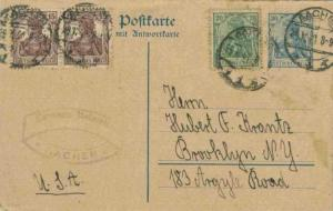 Germany 15pf (2) and 20pf Germania on 30pf Germania Attached Reply Postal Car...