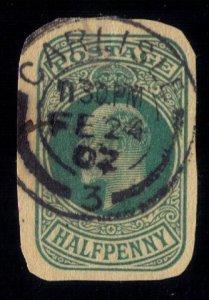 Great Britain Used Postal Cut Out 1902 Edward VII Carlisle Cancellation...