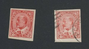 2x Canada Edward VII Stamps 2x #90A-2c Imperforate 1xMH 1xU Guide Value $55.00