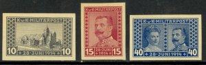 BOSNIA AND HERZEGOVINA 1917 ARCHDUKE IMPERF Semi Postal Set Sc B13-B15 MNH