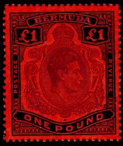 BERMUDA SG121e, £1 brt violet & blk/scar, NH MINT. Cat £180.