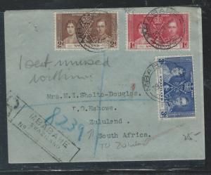 SWAZILAND (P0110B) 29 JU, 1937 CORONATION SET REG MBABANE TO ZULULAND