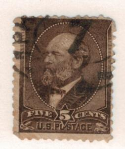 United States (U.S.) Stamp Scott #205, Used, 5 Cent James A. Garfield Definit...