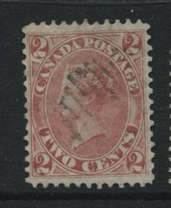 Lightly cancelled 1864 Canada 2 cents rose with lovely perfs a superb stamp