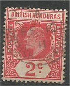 BRITISH HONDURAS , 1909, used..2c, King Edward VII Scott 72