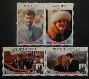 Tuvalu Vaitupu 65-66. 1986 Royal Wedding, se-tenant pairs, NH