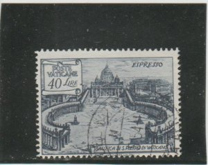 Vatican City  Scott#  E11a  Used  (1949 St. Peter's Basilica)