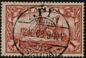 Germany Colonies 1908 Samoa Mi16 APIA Cancel Yacht Stamp 85458