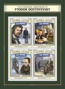 Sierra Leone 2016 MNH Fyodor Dostoyevsky 135th Memorial 4v M/S Writers Stamps