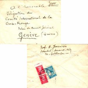Turkey 5K Ataturk (2) and 2K National Defense Postal Tax 1943 Arnavutkoy, 51 ...